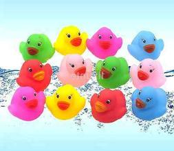 12 Mini Colorful Bathtime Rubber Duck Bath Toy Squeaky Water