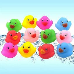 12Pcs/Set Mini Bathtime Rubber Duck Kids Baby Bath Toy Squea