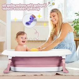 2-in-1 Baby Bath Tub Collapsible Toddler Bathtub Foldable In