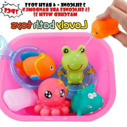 7PC Baby Bath Toys Cartoon Marine Animals Kids Bathtub Salva