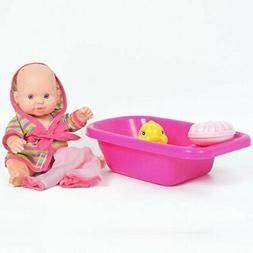 8 Inch Baby Bath Time Doll with Bathtub and Accessories - Gr
