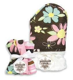 Trend-Lab 21001 Blossoms Hooded Towel And Wash Cloth Set