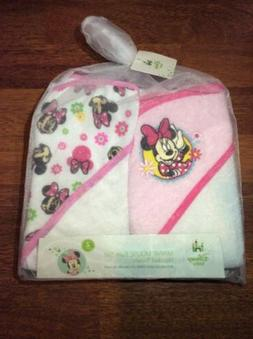Disney Baby Minnie Mouse Bath Set Hooded Towels New