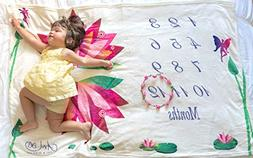 """Baby Monthly Milestone Blankets Large 40x60""""   Luxury Coral"""