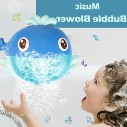 Baby's Auto Bubble Maker Music Bath Toy Machine Big Whale To