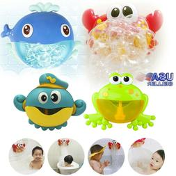 Baby's Auto Bubble Maker Music Bath Toy Machine Big Crab&Fro