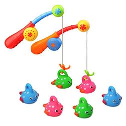 Bath Toy Fishing Game with Cute Spotted Fish and Fishing Rod