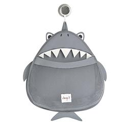 3 Sprouts Bath Toy Storage Bag, Shark, Grey