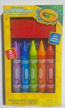 Crayola Bathtub Body Wash Pen Washcloth Gift Set New