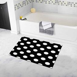 InterestPrint Big Polka Dot Bath Mat Soft Bathroom Rugs Non-