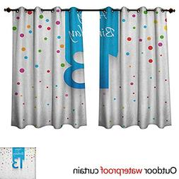 Anshesix 13th Birthday Outdoor Curtain for Patio Colorful Po
