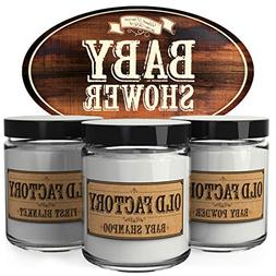 Old Factory Candles, Set of 3  - Baby Shower