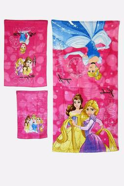 DISNEY FAVORITE CARTOONS THEMES BATH TOWEL SET 3PC 100% COTT