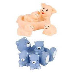 Baidercor Floating Pig Bear Bath Toys Mom and 3 Babies Squea