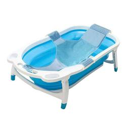 Folding Bathtub Baby/Kids with Infant Sling, Safe and Space-