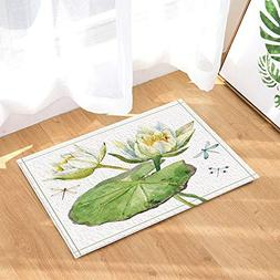 Nature Home Decor Watercolor Dragonfly Flying with Nice Lotu