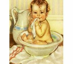 House Portrait Diamond Painting Cute Baby Taking A Bath Desi