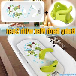 Infant Baby Kids Bath Tub Seat Ring + Mat Pad Non-slip Safet