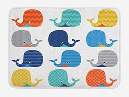 Lunarable Kids Bath Mat, Fish Sea Nautical Funny Colorful Wh