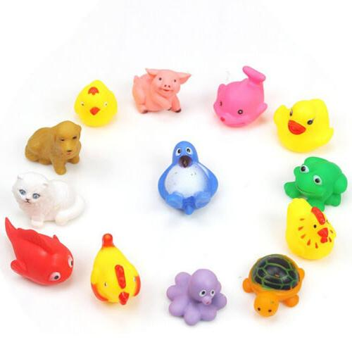 13pcs cute soft rubber float sqeeze sound