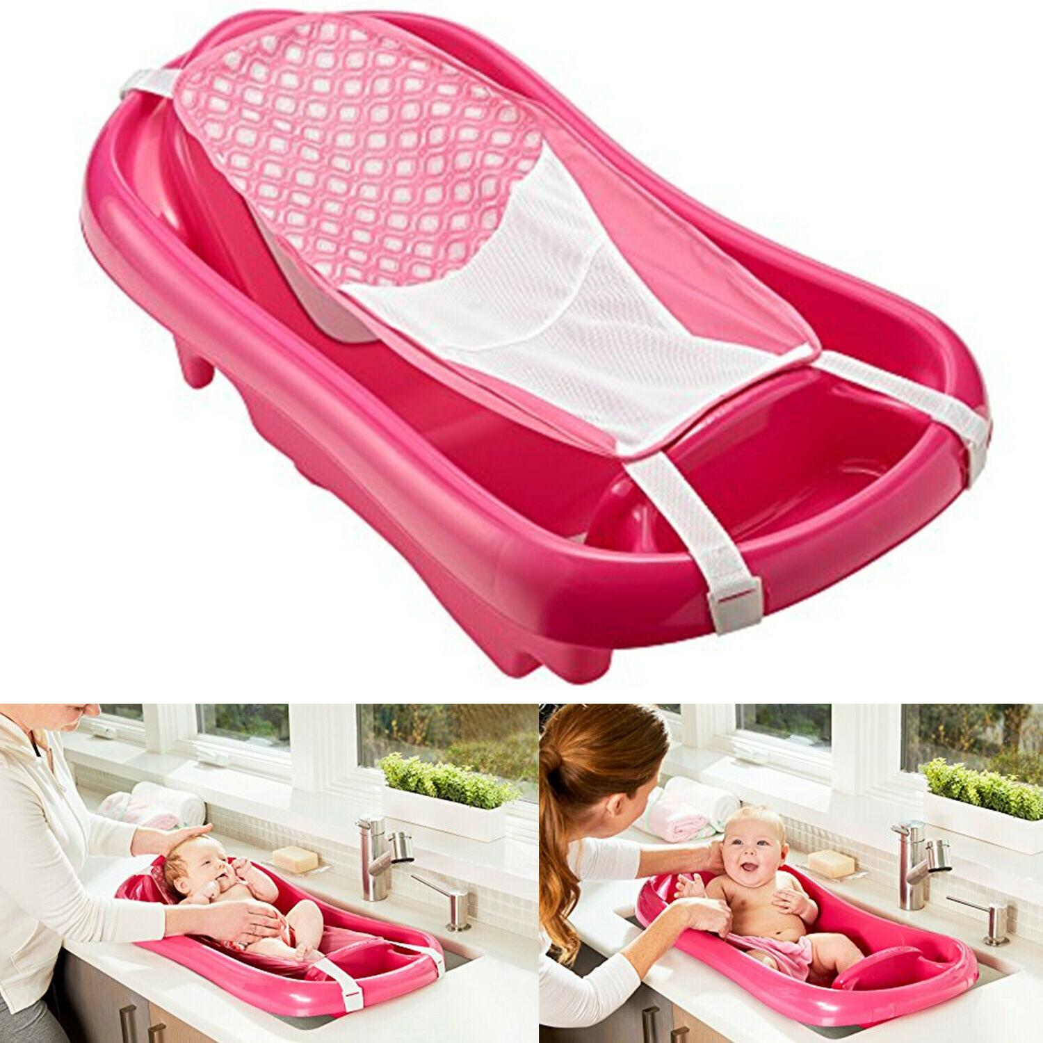 Baby Infant Bath Tub Safety Seat Pink Bathing Newborn Shower