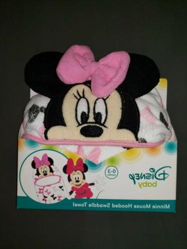 baby minnie mouse hooded bath swaddle towel