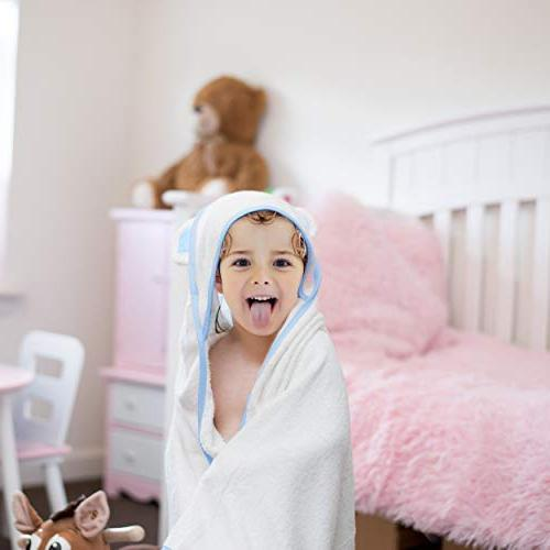 Bamboo Hooded Baby - Toddler Bath Towels Set for Hypoallergenic Towels Hood Boys and Girls Pink, or Shower Gift