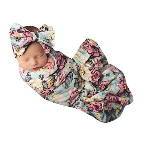 headband baby floral swaddle blanket