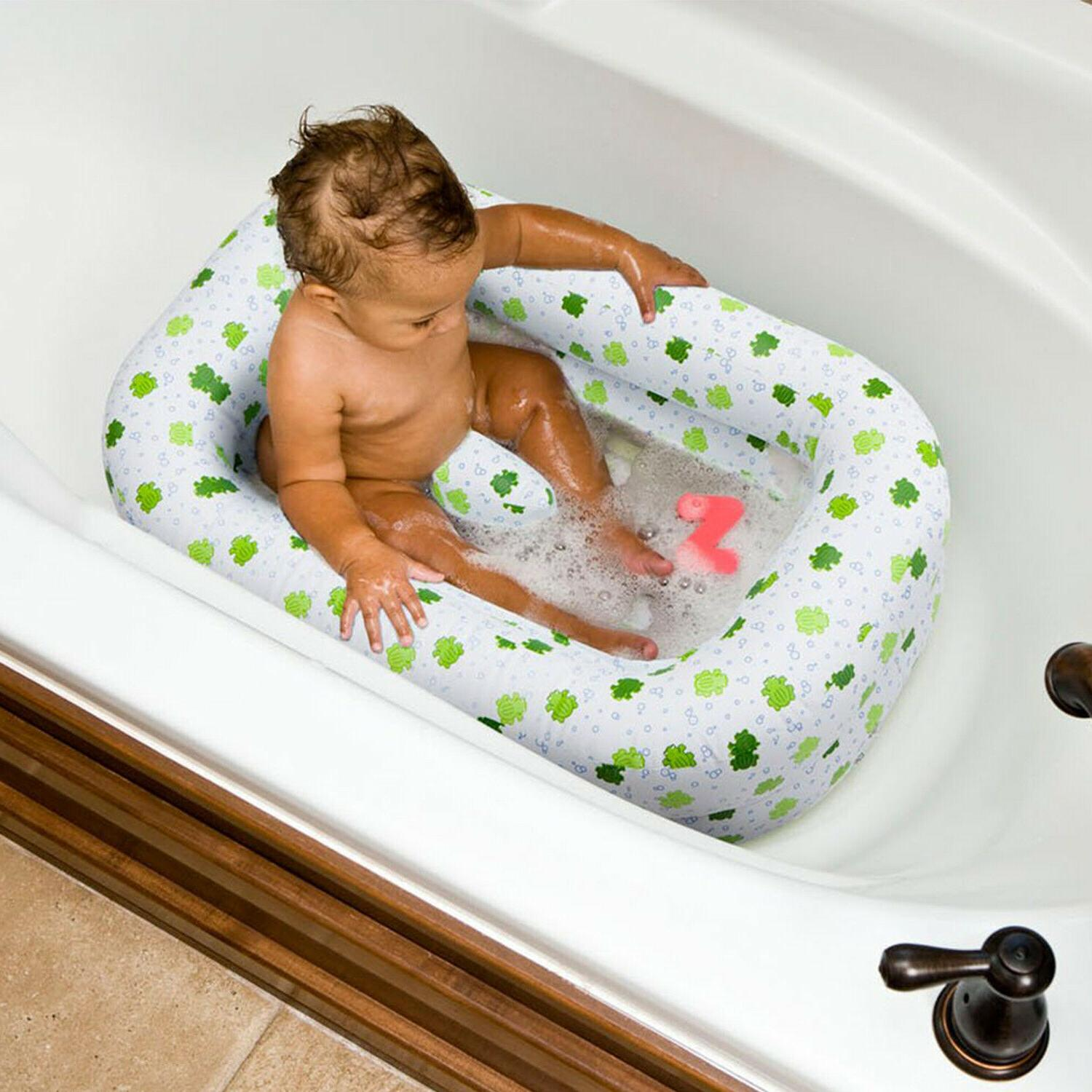Inflatable Baby Infant Bath Tub Safety Seat Air Bathing Newb