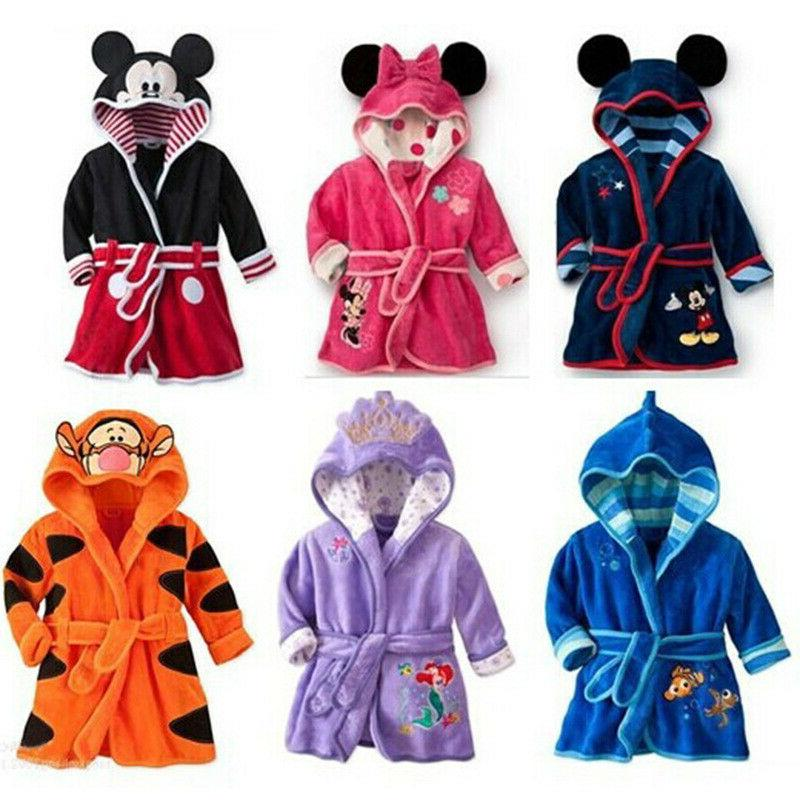 minnie baby boys girls cartoon hooded bathrobe