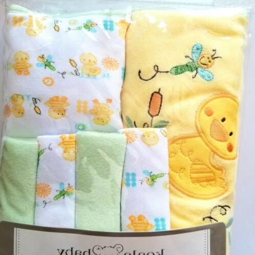 Koala Baby Neutral Yellow Duck 2 Pack Towel and 4 Pack Washc