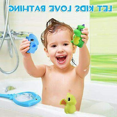 ReechTree Fishing Dinosaur Bath Toy For To 12 Months, Net