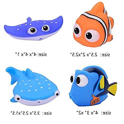 ALLCELE Shower Toy Baby Bath Squirt, Finding Toddler Swimming 4pcs