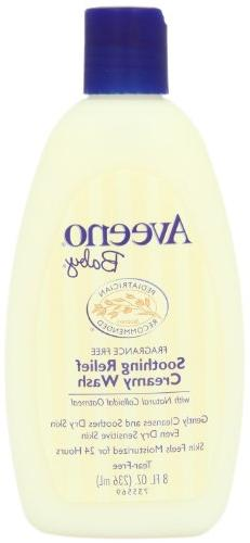 Aveeno Baby Soothing Relief Creamy Wash, Fragrance Free, 8 O