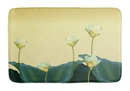 Yesstd Light Cream Floral Water Lily Lotus Flower Absorbent
