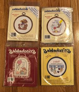Lot of  Stitchables Cross Stitch Kits Hoop Frame Bear Kitche