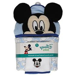 Disney Mickey Mouse Icons Hooded Bath Towel and Washcloth, B