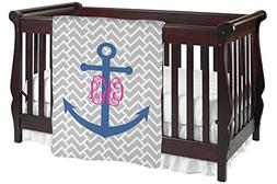 Monogram Anchor Baby Blanket