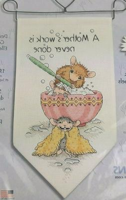 Dimensions MOUSE Cross Stitch Kit MOTHERS WORK IS NEVER DONE