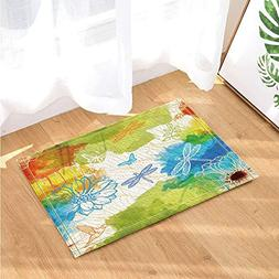 Pastel Water Color Drawing Decor Butterflies in Lotus Bath R