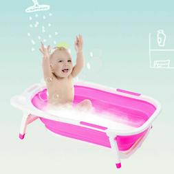 Pink Baby Folding Bathtub Infant Collapsible Portable Shower