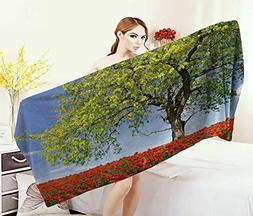 Anniutwo Poppy,Baby Bath Towel,Landscape Blooming Poppies on