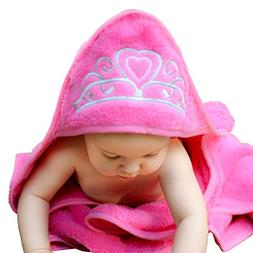 """Baby Princess Hooded Towel , 29"""" x 29"""", Plush and Absorbent"""