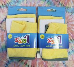 Set Of 2 Razz Bath Wash Cloths 3 Pack Each Yellow And White