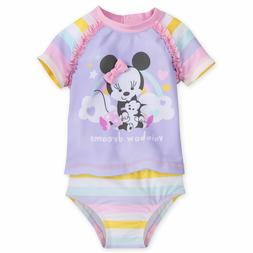 Disney Store Minnie Mouse 2pc Baby Swimsuit Girls Size 3 6 9