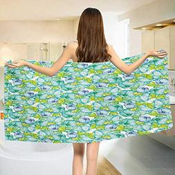 Chaneyhouse Turquoise,Baby Bath Towel,Blooming Flower Figure