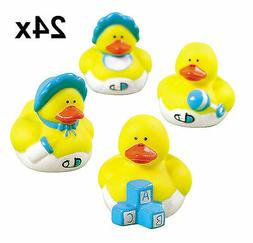Two Dozen  Blue BOY Mini Rubber Ducky Duck Baby Shower Birth