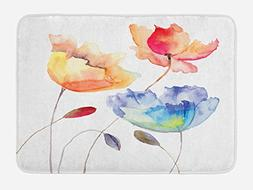 Ambesonne Watercolor Flower Bath Mat, Summer Flowers in Retr