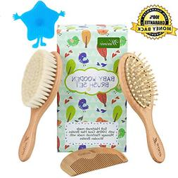 4Pcs Wooden Baby Goat Hair Brush and Comb Set Grooming kit f